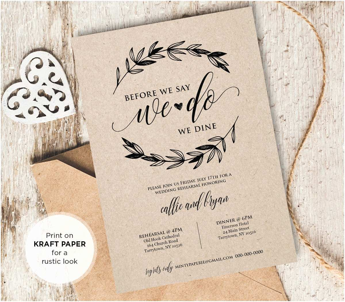Wedding Rehearsal Invitations Rustic Wedding Rehearsal Invitation Instant Download