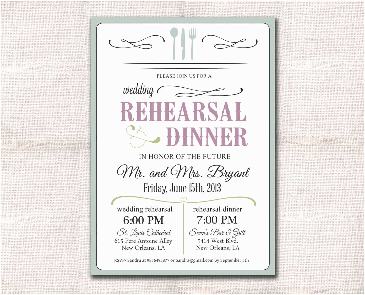 Wedding Rehearsal Invitations Wedding Rehearsal Dinner Invitation Custom Printable 5x7