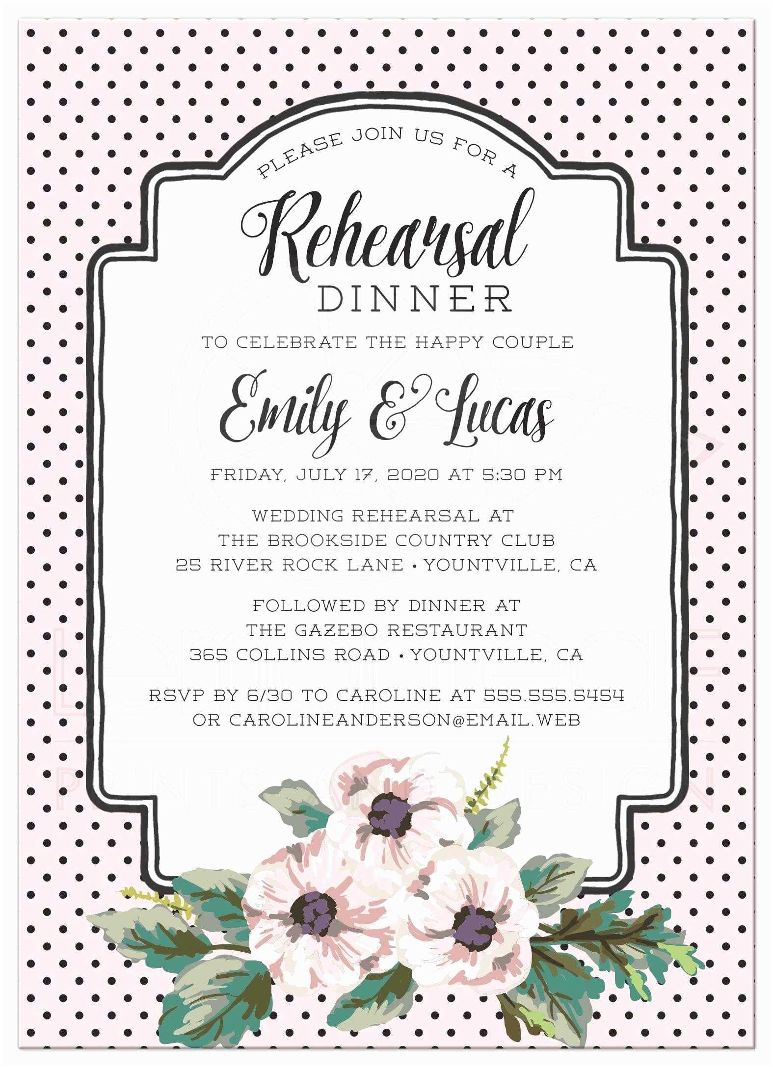 Wedding Rehearsal Invitations Wedding Rehearsal Dinner Invitations Retro Polka Dots