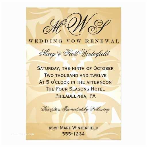 Wedding Renewal Invitations Damask & Monogram Wedding Vow Renewal Invitations