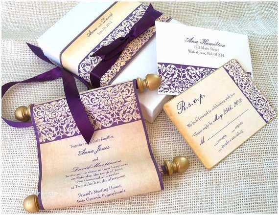 Wedding Scroll Invitations Elegant Wedding Invitation Suite Fabric Scroll by
