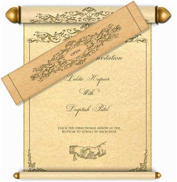 Wedding Scroll Invitations Engraved Scroll Email Wedding Card In Beige Cream & Gold