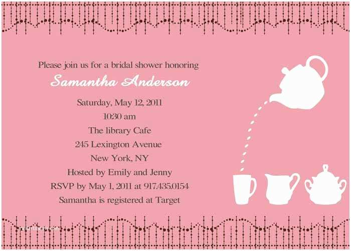 Wedding Shower Invitation Wording Cheap Print Pink Bridal Shower Tea Party Invitations