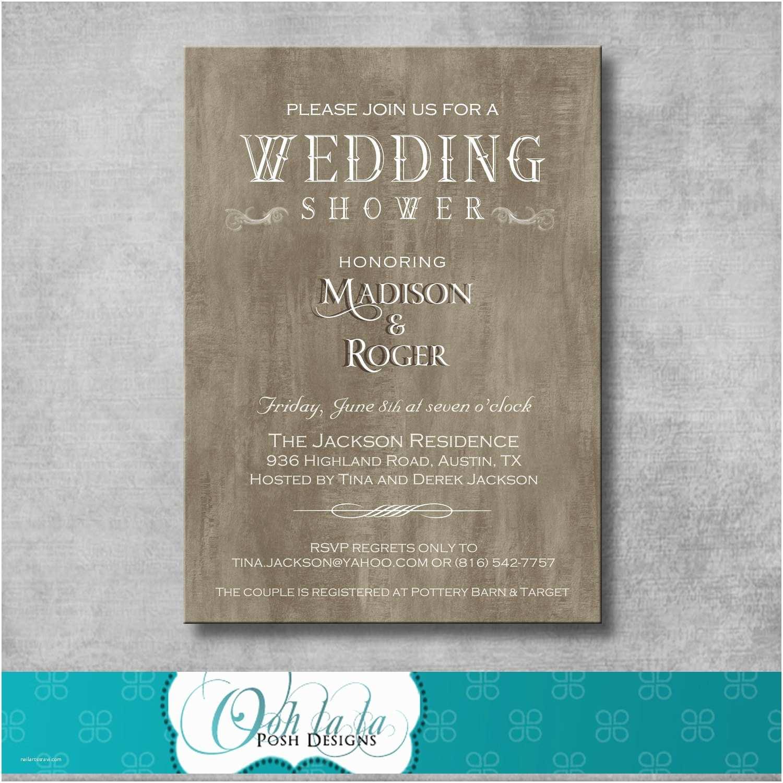 Wedding Shower Invitations Rustic Elegant Wedding Shower Invitation by Oohlalaposhdesigns