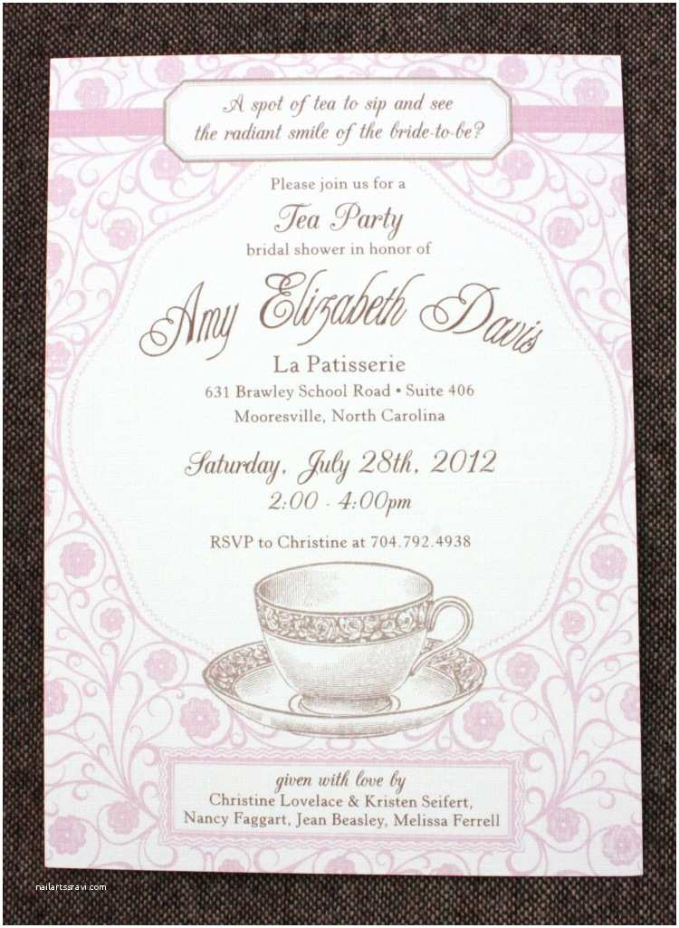 Wedding Tea Invitations Bridal Shower Party Invitation Wording