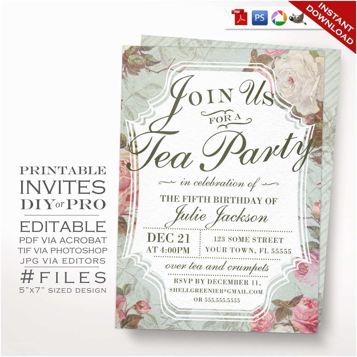 Wedding Tea Invitations Diy Vintage Rose Tea Party theme Birthday Invitation