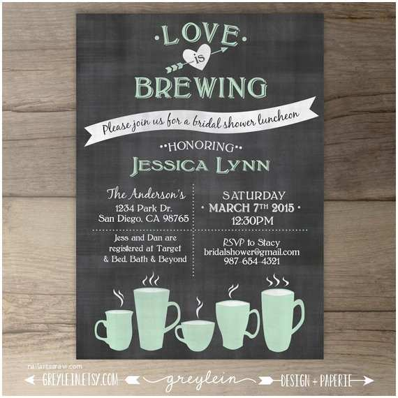 Wedding Tea Invitations Love is Brewing Bridal Shower Wedding Engagement Party