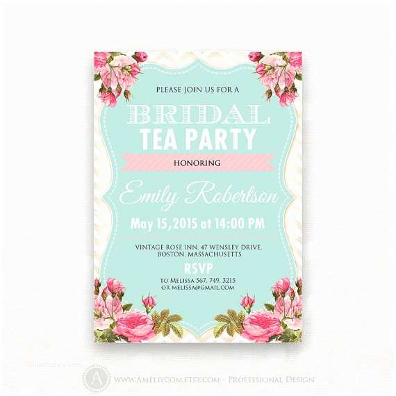 Wedding Tea Invitations Printable Bridal Shower Invite Spring Bridal Brunch