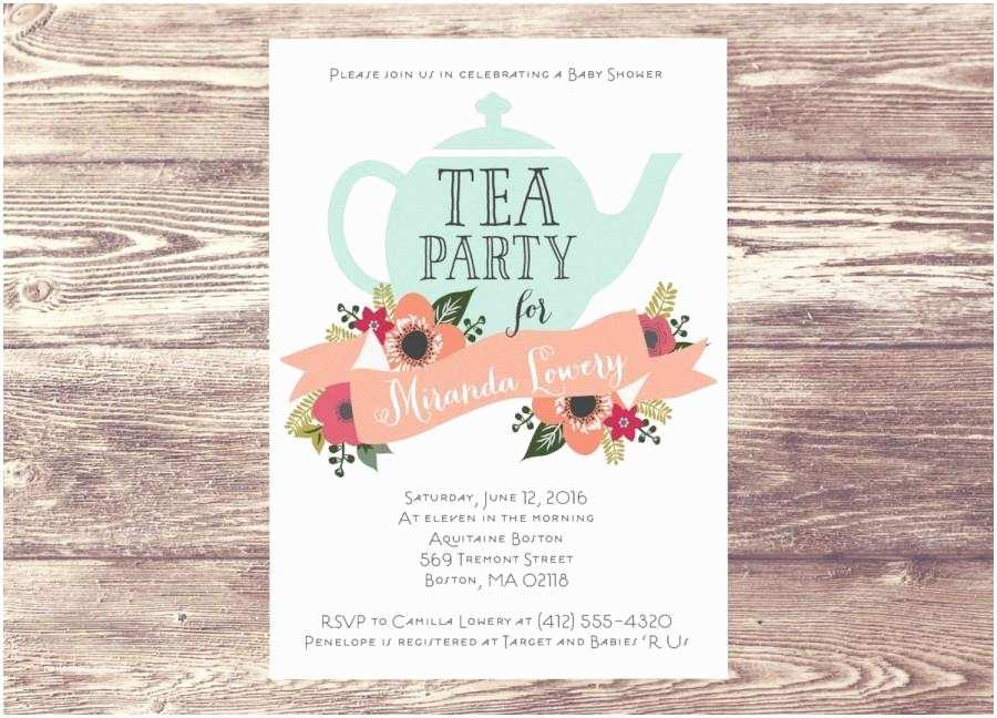 Wedding Tea Invitations Bridal Shower Tea Party Invitation Wording