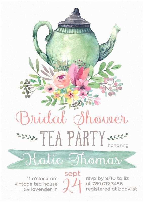 Wedding Tea Invitations Tea Party Bridal Shower Invitations Wedding Shower Invite