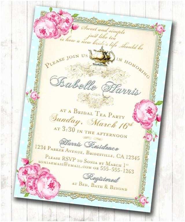 Wedding Tea Invitations Tea Party Bridal Shower Tea Party Invitation Floral