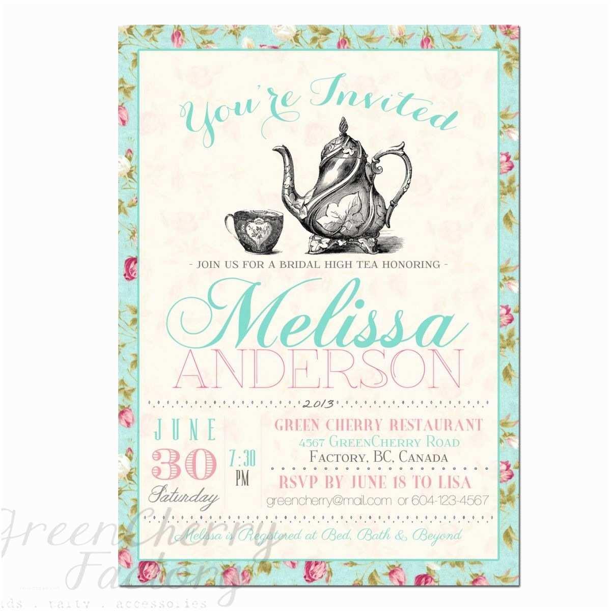 Wedding Tea Invitations Tea Party Invitation Templates to Print