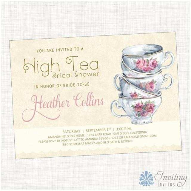 Wedding Tea Invitations Vintage Tea Cup Bridal Shower Invitation Baby Shower