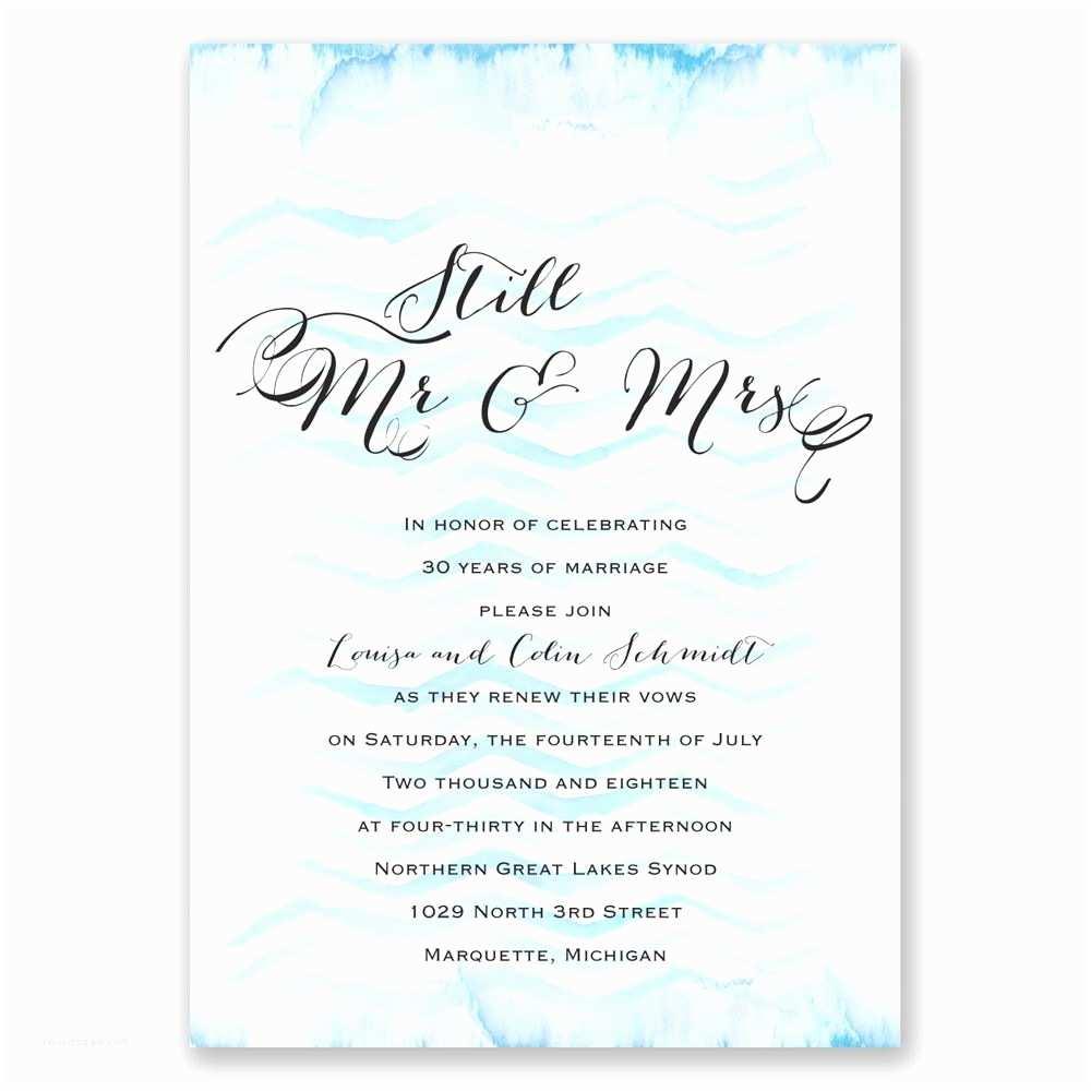 Wedding Vow Renewal Invitations Watercolor Chevron Vow Renewal Invitation