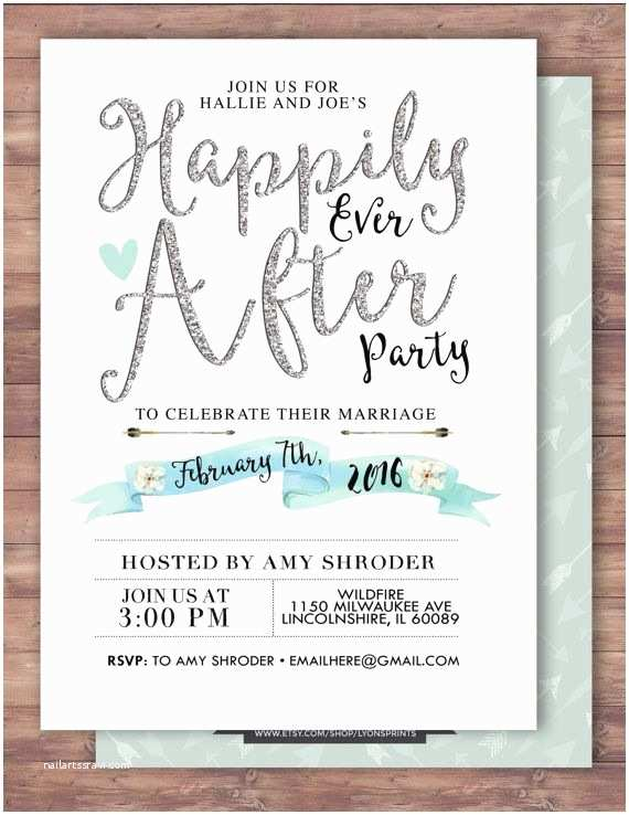 Wedding Welcome Party Invitation Happily Ever after Invitation Boho Wedding Shower
