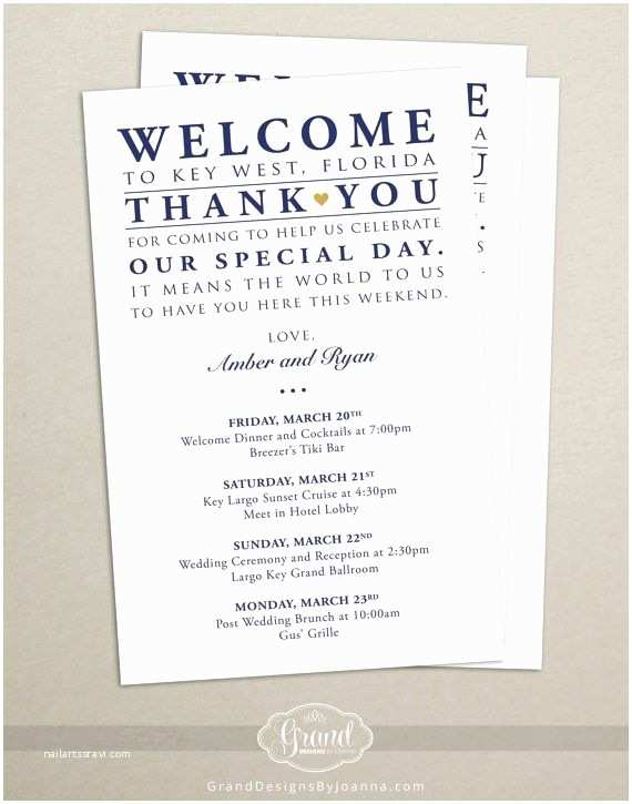 Wedding Welcome Party Invitation Itinerary Cards for Wedding Hotel Wel E Bag Printed