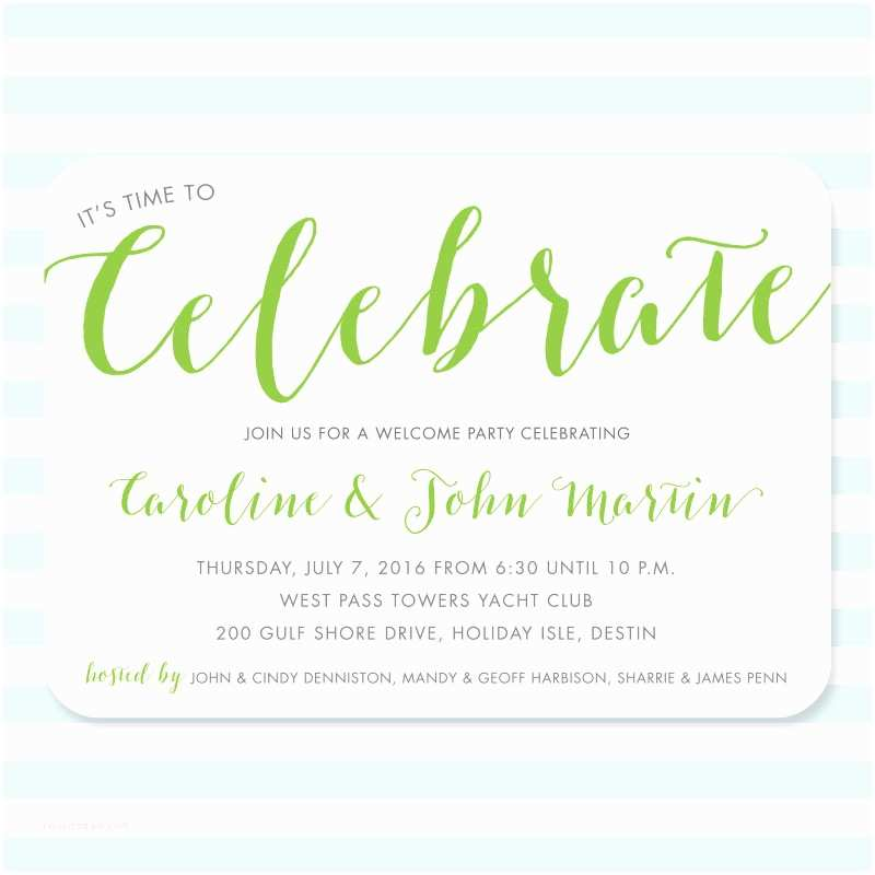 Wedding Welcome Party Invitation It's Time to Celebrate
