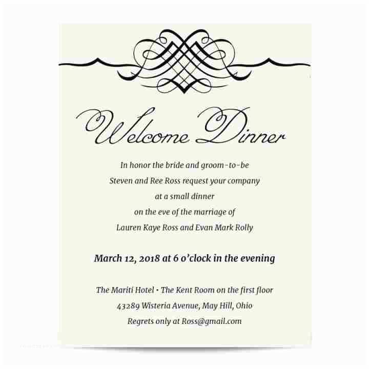 Wedding Welcome Party Invitation Simple Elegance Wel E Dinner Invitation