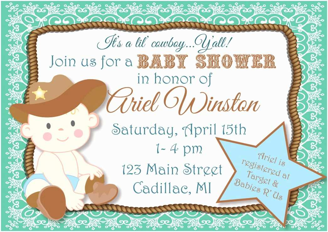 Western Baby Shower Invitations Cowboy themed Baby Shower Invitations Party Xyz