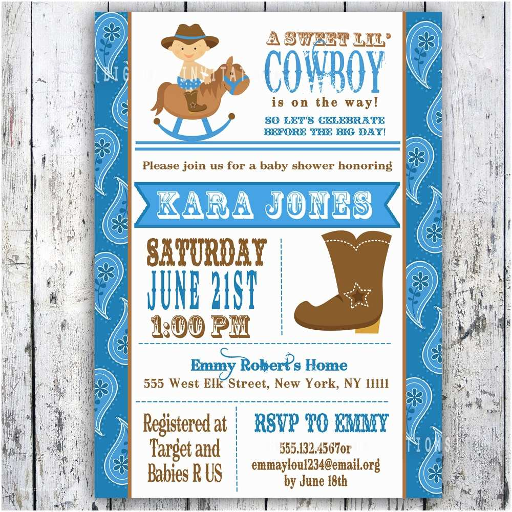Western Baby Shower Invitations Lil Cowboy Baby Shower Invitation Custom Printable