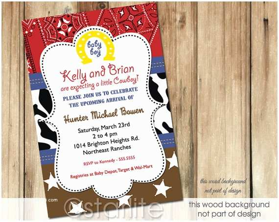Western Baby Shower Invitations Western theme Baby Shower Invitation Brown Red by Starwedd