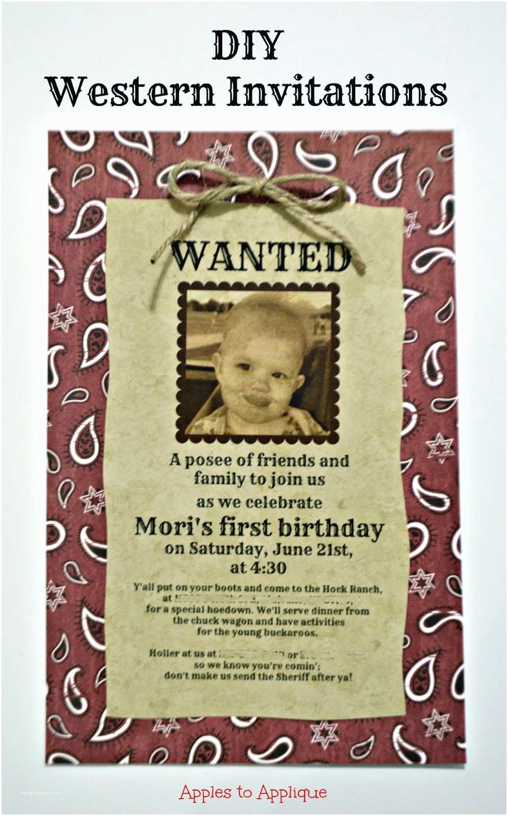 Western Birthday Invitations Apples to Applique Two Minute Tuesday 10 Diy Western