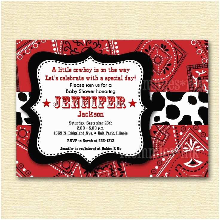 Western Birthday Invitations Best 25 Bandana Baby Shower Ideas On Pinterest