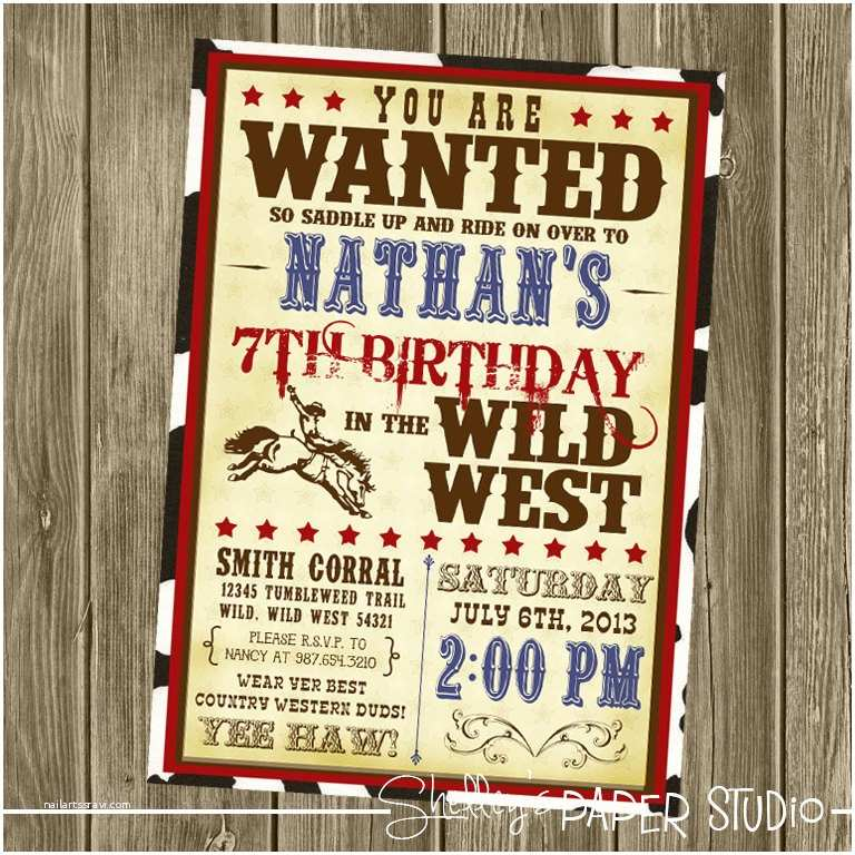Western Birthday Invitations Cowboy Birthday Invitation