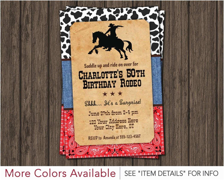 Western Birthday Invitations Rodeo 50th Birthday Invitation Country Western Wild