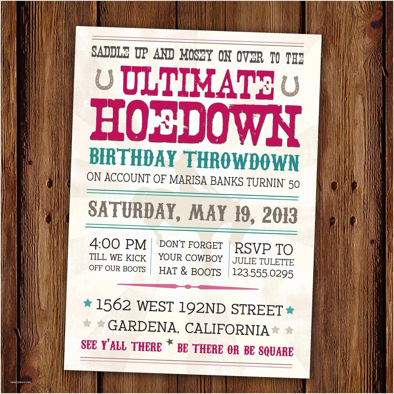 Western Birthday Invitations Vintage Hoedown Invitation Ultimate Hoedown by Scriptivapaper