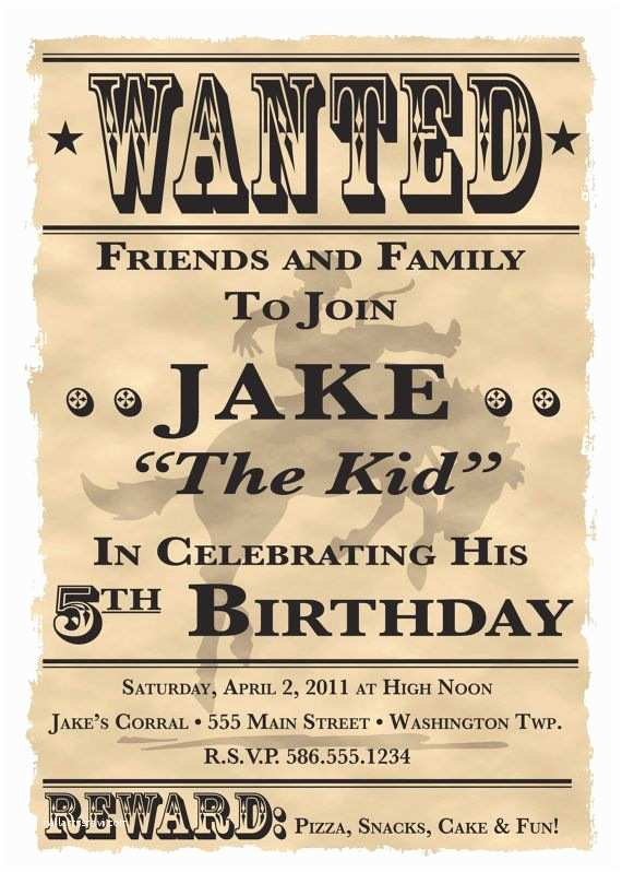 Western Birthday Invitations Wanted Poster Cowboy Western theme Birthday Party
