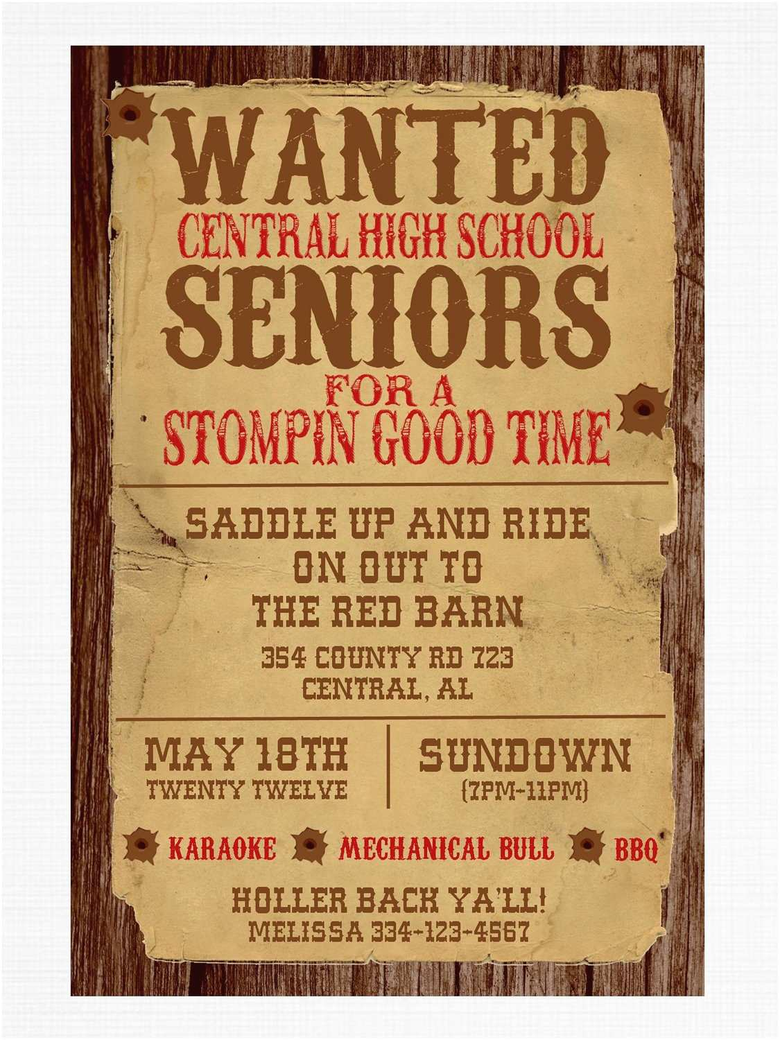 Western Birthday Invitations Wanted Poster Western Party Invitation by Graysgraphicdesigns