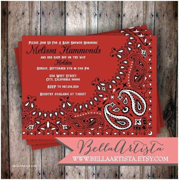 Western Birthday Invitations Western Invitation Bandana Cowboy Cowgirl or Rustic