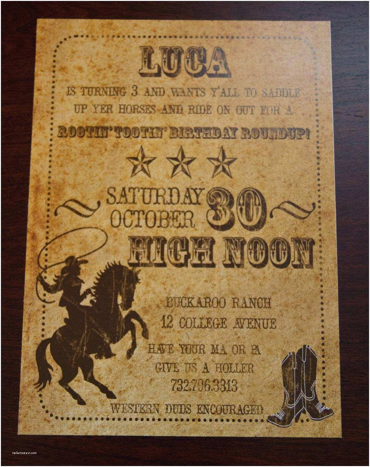 Western Birthday Invitations Western Party Invitations