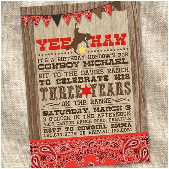Western Birthday Invitations Yee Haw Western Cowboy Invitation Printable Cowboy by