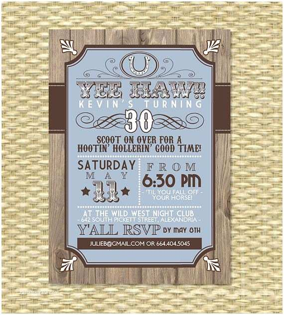 Western Party Invitations Country Western Adult Birthday Invitation by