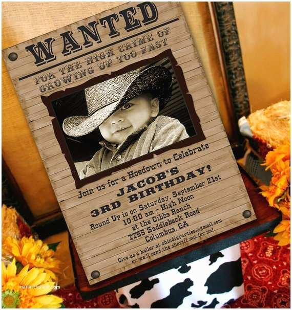 Western Party Invitations Cowboy Party Invitation Cowboy Western by Amandaspartiestogo