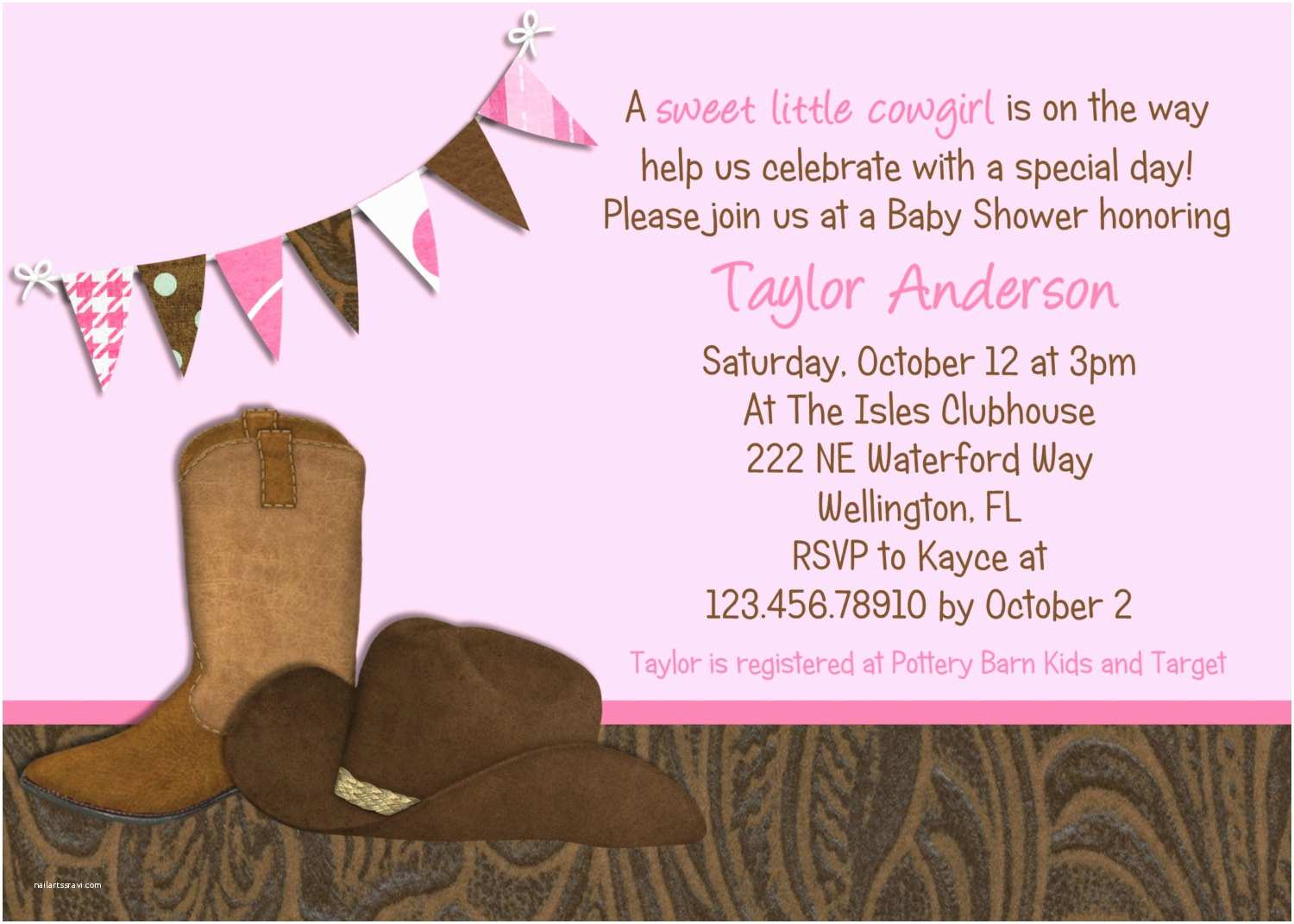 Western Party Invitations Little Cowgirl Western Baby Shower Invitation