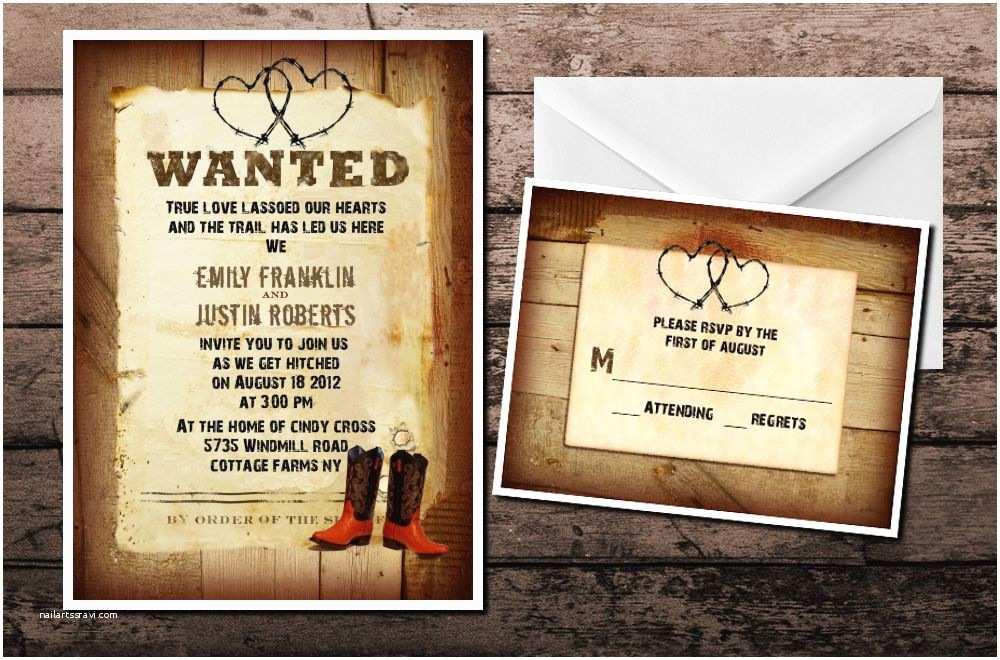 Western Wedding Invitations Western Country Cowboy Cowgirl Wedding Invitations