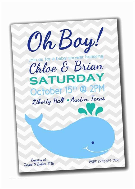Whale Baby Shower Invitations Baby Boy Shower Invitation Blue Whale Printable