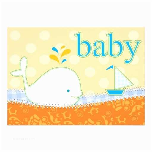 """Whale Baby Shower Invitations Baby Shower Invitation Boy Baby Whale 5"""" X 7"""" Invitation"""