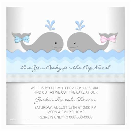Whale Baby Shower Invitations Baby Whale Gender Reveal Shower 5 25x5 25 Square Paper
