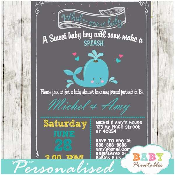Whale Baby Shower Invitations Blue & Gray Whale Baby Shower Invitation Boys D185