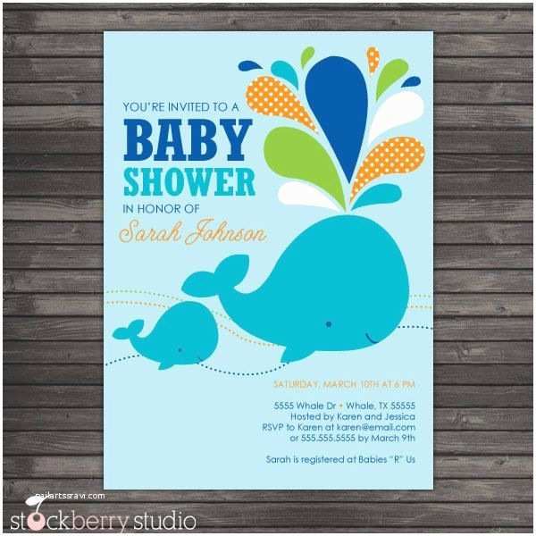 Whale Baby Shower Invitations Blue Whale Baby Shower Diy Printable Invitation