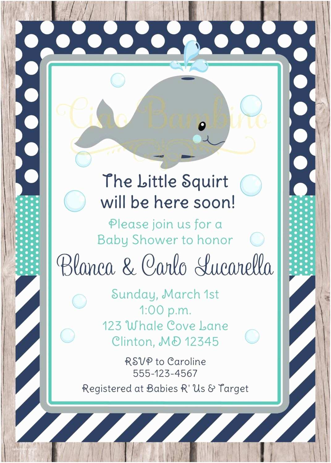 Whale Baby Shower Invitations Printable Whale Baby Shower Invitation Navy Blue Gray