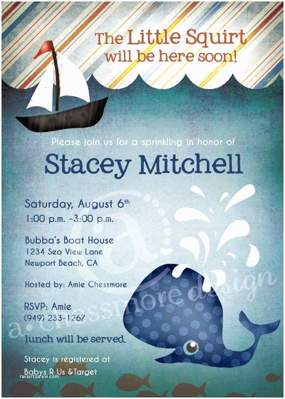 Whale Baby Shower Invitations Whale Baby Shower Invitation and Gift Bag Tags Little Squirt