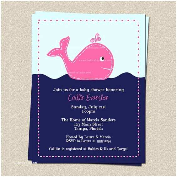 Whale Baby Shower Invitations Whale Baby Shower Invitations Girls Dots Navy Pink