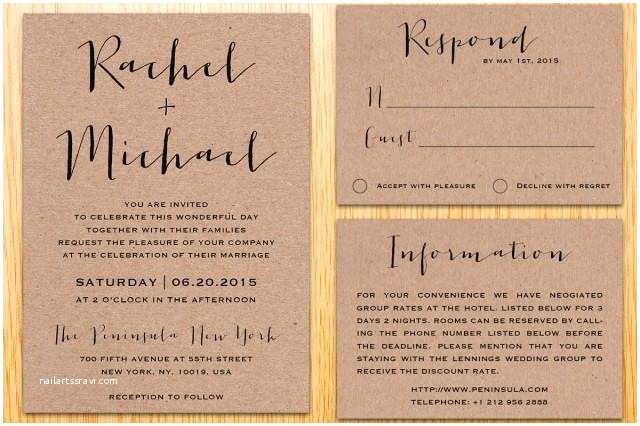 What is Included In A Wedding Invitation Suite Digital Printable Kraft Paper Wedding Invitation Suite