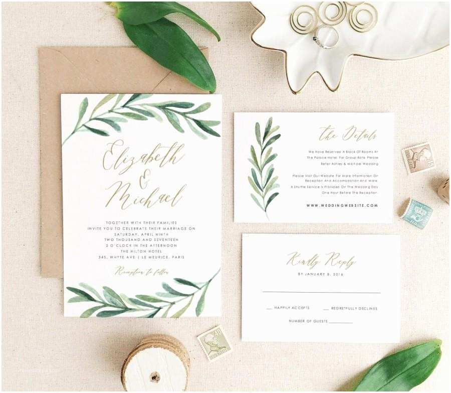 greenery wedding invitation template printable wedding invitation suite modern rustic wedding calligraphy word or pages mac or pc