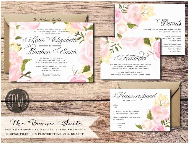 What is Included In A Wedding Invitation Suite Printable Wedding Invitation Suite Floral Wedding Invite